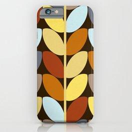 Retro 70s Color Palette Leaf Pattern iPhone Case