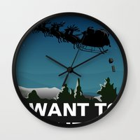 i want to believe Wall Clocks featuring I want to believe by Fresco Umbiatore
