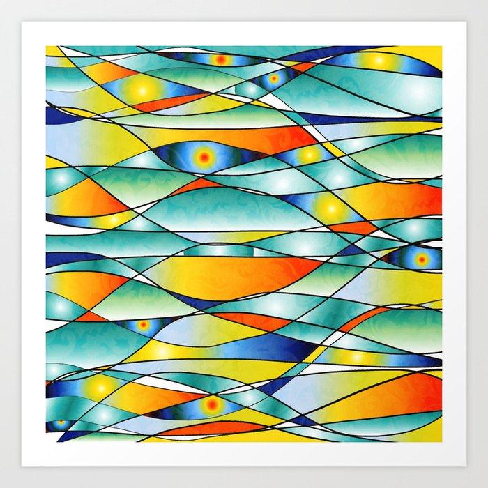 Sunrise Fish Eyes Glass Art Print