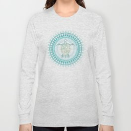 Turquoise Green Turtle And Mandala Long Sleeve T-shirt