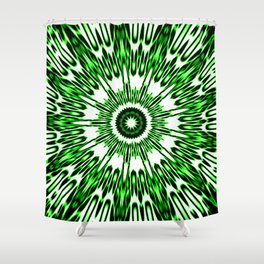 Green White Black Explosion Shower Curtain