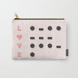 I Love U Morse Code Pink BG Carry-All Pouch