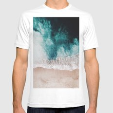 Ocean (Drone Photography) White MEDIUM Mens Fitted Tee