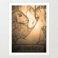 escher Art Prints featuring MC Escher  by WIT Monster