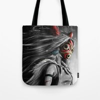 princess Tote Bags featuring Miyazaki's Mononoke Hime Digital Painting the Wolf Princess Warrior Color Variation by Barrett Biggers