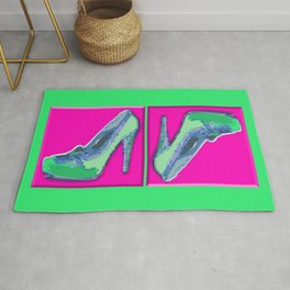 Green in pink  Rug