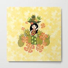 Pineapple Camo and Pineapple Luau Hawaiian Hula Girl Prints Metal Print