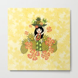 Pineapple Camo and Pineapple Luau Hawaiian Hula Girl Prints Metal Print