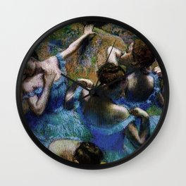 Blue Dancers Portrait by Edgar Degas Wall Clock
