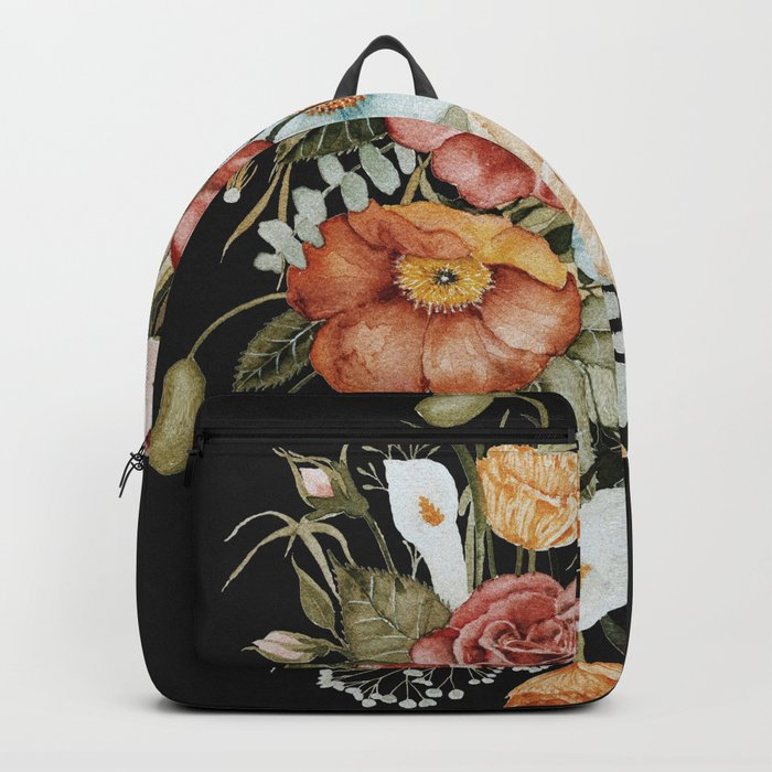 Roses and Poppies Bouquet on Charcoal Black Rucksack