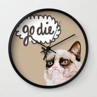 grumpy Wall Clocks featuring Grumpy by Liffy Designs