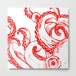 Octopus - Red and White Metal Print