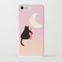 Abstraction_CAT_DRUNK_NIGHT_Minimalism_001 iPhone Case