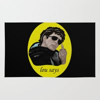 lou reed Area & Throw Rugs featuring Lou Says by Adam Metzner
