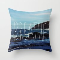 breathe Throw Pillows featuring Breathe by Leah Flores
