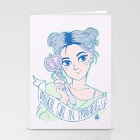 magical girl Stationery Cards featuring MAGICAL GIRL IN TRAINING by Natalie Nardozza