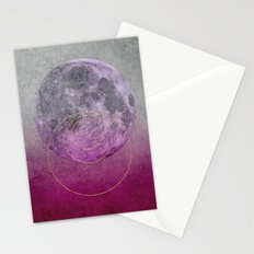 Pink Moon geometric circle mixed media Stationery Cards