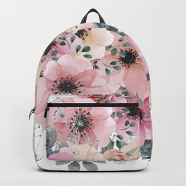 Pink and Peach Watercolor Flowers Backpack