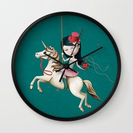 Circus girl on horse with cage and heart Wall Clock