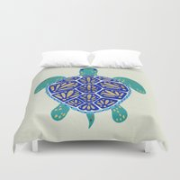 winter Duvet Covers featuring Sea Turtle by Cat Coquillette