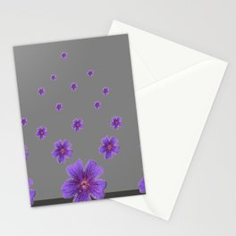 PURPLE FLOWERS COLLAGE CHARCOAL GREY Stationery Cards