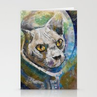 space cat Stationery Cards featuring Space Cat by Michael Creese