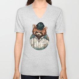 Cute Red Panda in Bowler hat Unisex V-Neck