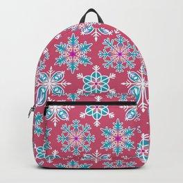 Snowflakes - Rainbow Snowflakes Dark Pink Backpack
