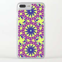 Chained Link Purple Spiral Flowers Clear iPhone Case