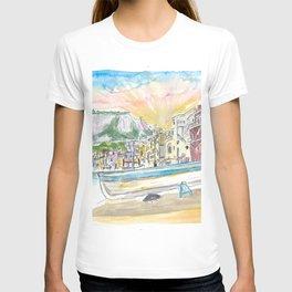 Marina Grande Boat And Port Scene On Capri Island Italy T-shirt
