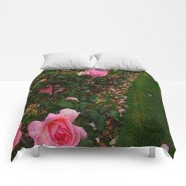 Pink Rose Field (Sideways) Comforters