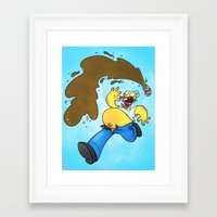 simpson Framed Art Prints featuring Homer Simpson by Joe McGro