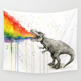 T-Rex Dinosaur Vomits Rainbow Wall Tapestry