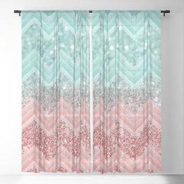 Summer Vibes Glitter Chevron #1 #coral #mint #shiny #decor #art #society6 Sheer Curtain
