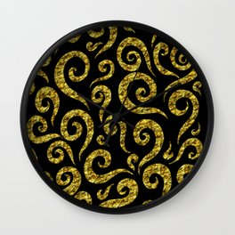 Golden Swirls Pattern Wall Clock
