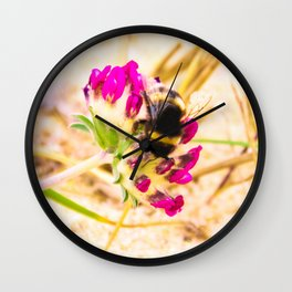 bumble been on a dune flower Wall Clock