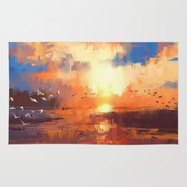 beautiful painting showing sunset on the lake Rug