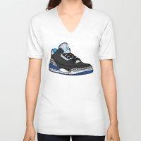 sport V-neck T-shirts featuring Jordan 3 (Sport Blue) by Pancho the Macho