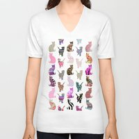 preppy V-neck T-shirts featuring Girly Whimsical Cats aztec floral stripes pattern by Girly Trend