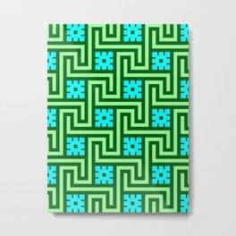 Deco Greek Key, Turquoise and Jade Green Metal Print
