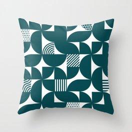 Teal Blue Mid Century Bauhaus Semi Circle Pattern Throw Pillow