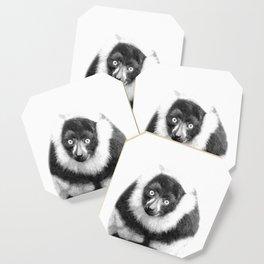 Black and white lemur animal portrait Coaster