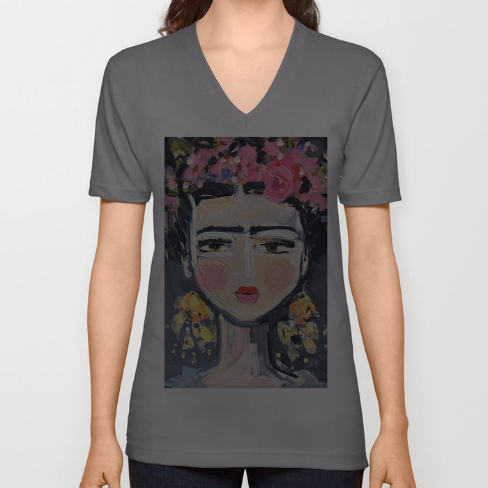 Portrait Inspired by Frida Unisex V-Ausschnitt