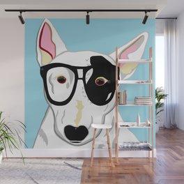 Hipster Bull Terrier Wall Mural