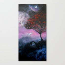 Owl and Moon Painting Canvas Print