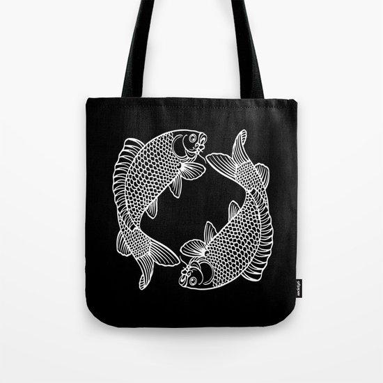 Black White Koi Tote Bag