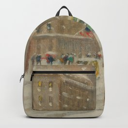 Fifth Avenue, Snowstorm, New York City landscape painting by Guy Carlton Wiggins Backpack