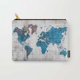 world map 96 blue #worldmap #map Carry-All Pouch