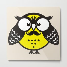 Owl with mustache Metal Print