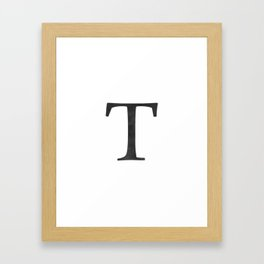 Letter T Initial Monogram Black and White Framed Art Print